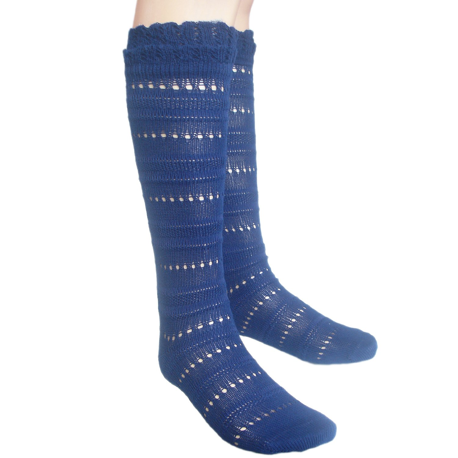 Girls seamless knee high Pointelle socks with soft cuff for sensitive feet