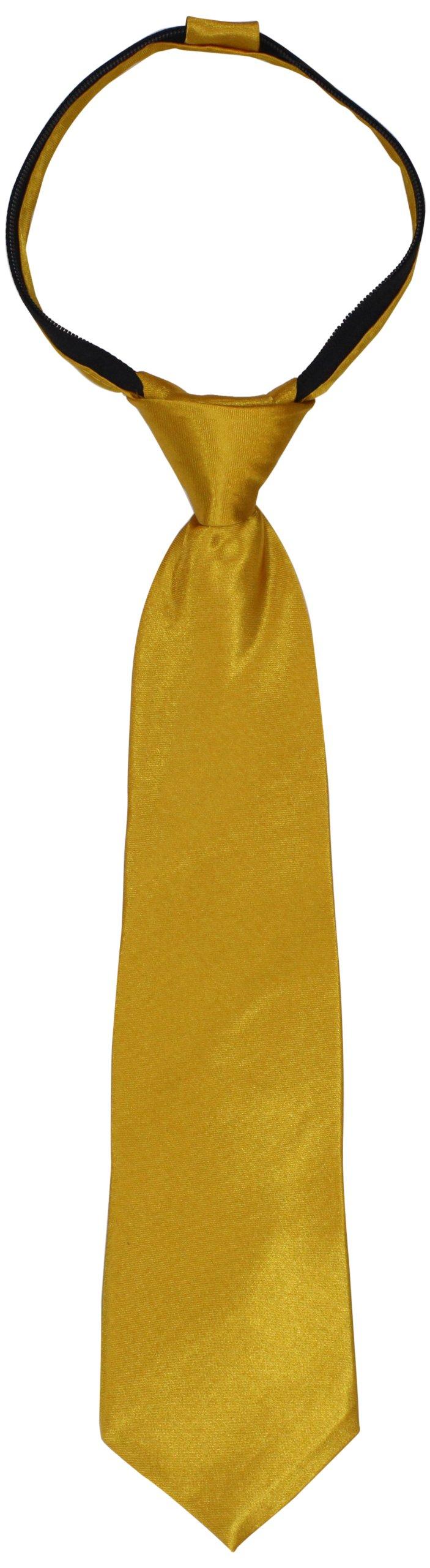 American Exchange Big Boys' Solid Zipper Tie, Gold, 14 Inch