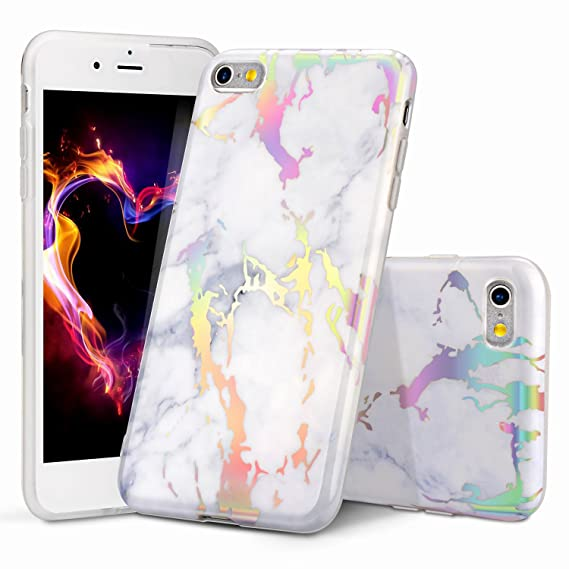 sneakers for cheap 294c0 4ef8e WORLDMOM iPhone 6 Case, Holographic iPhone 6S Case, Colorful Laser  Holographic Flash Map Marble Shock Absorption Technology Bumper Soft TPU  Cover Case ...