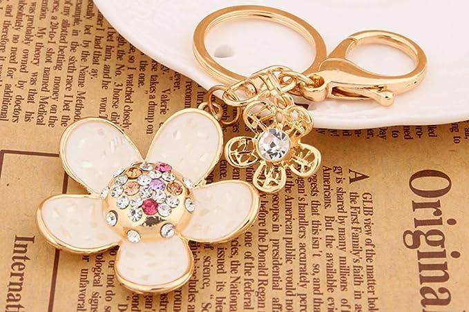 Amazon.com : 1 Pc Rhinestone Flowers Keychain Gifts Pendant ...