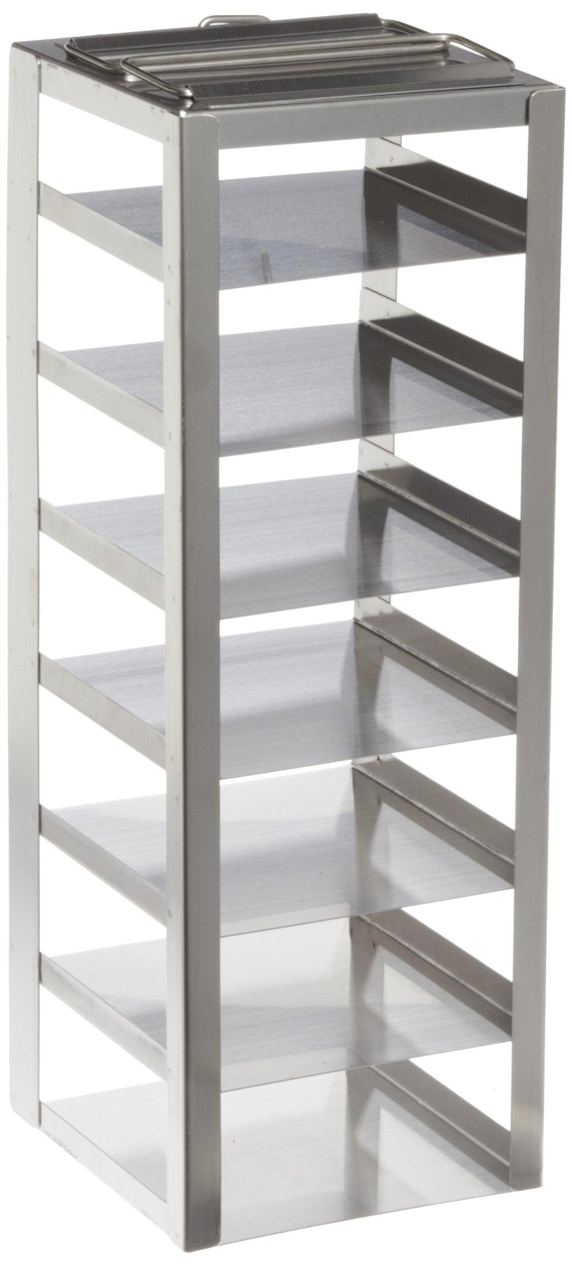 Heathrow Scientific HS2862AB Freezer Rack, Chest Freezer Rack, Vertical Freezer Rack, Stainless Steel, 7 Shelves, 2'' Box Height