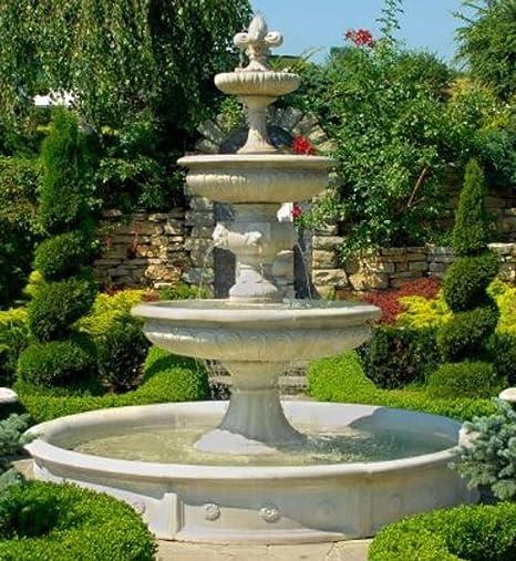 Casa Padrino Fuente/Fuente del Jardín Barroco Ø 265 x H. 280 cm - Magnífica Fuente de 3 Etapas en Estilo Barroco, Colores:Blanco: Amazon.es: Hogar