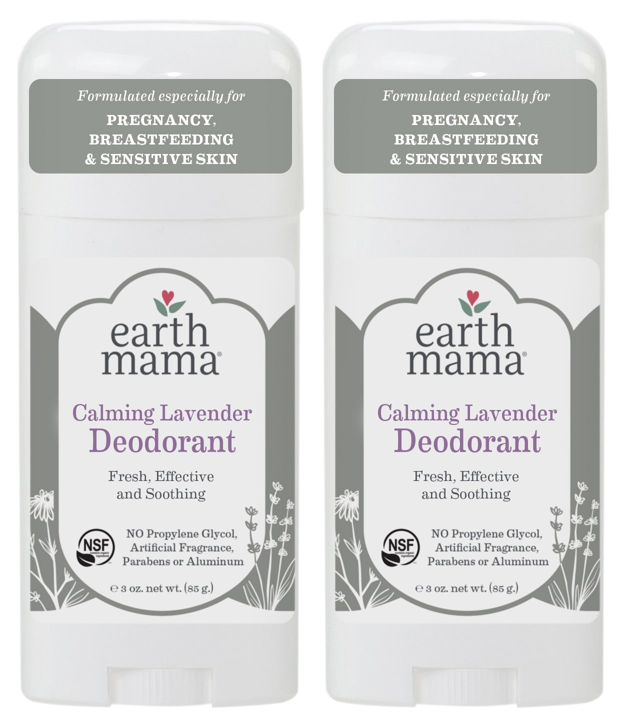 Earth Mama Deodorant for Sensitive Skin, Pregnancy and Breastfeeding, Calming Lavender, 3-Ounce (2-Pack)
