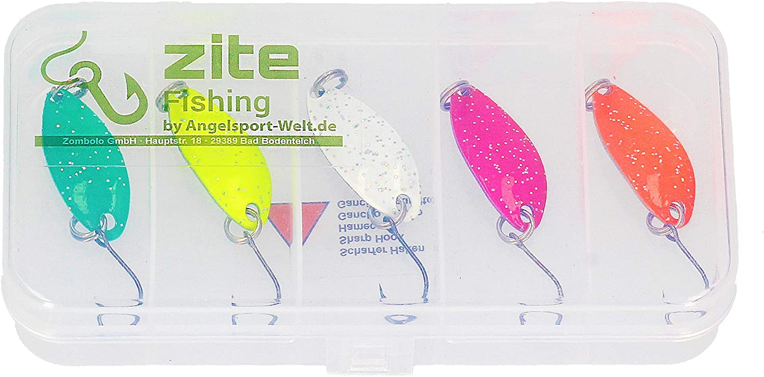 Trout Spoon Set Neon Glitter 5/Colours of 3/g with Individually/ /3.5/cm