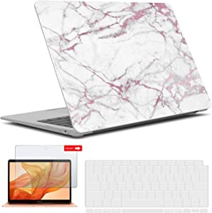 IBENZER MacBook Air 13 Inch Case 2020 2019 2018 New Version A2179 A1932, Hard Shell Case with Keyboard & Screen Cover for Apple Mac Air 13 Retina with Touch ID, Pink Marble, AT13PKMB+2