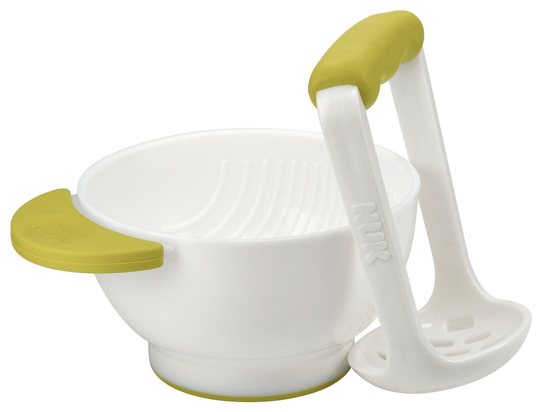 NUK 10255202 Fresh Foods Pürierset, Schüssel und Stampfer, zum Pürieren von Gemüse oder Obst, petrol Schüssel und Stampfer