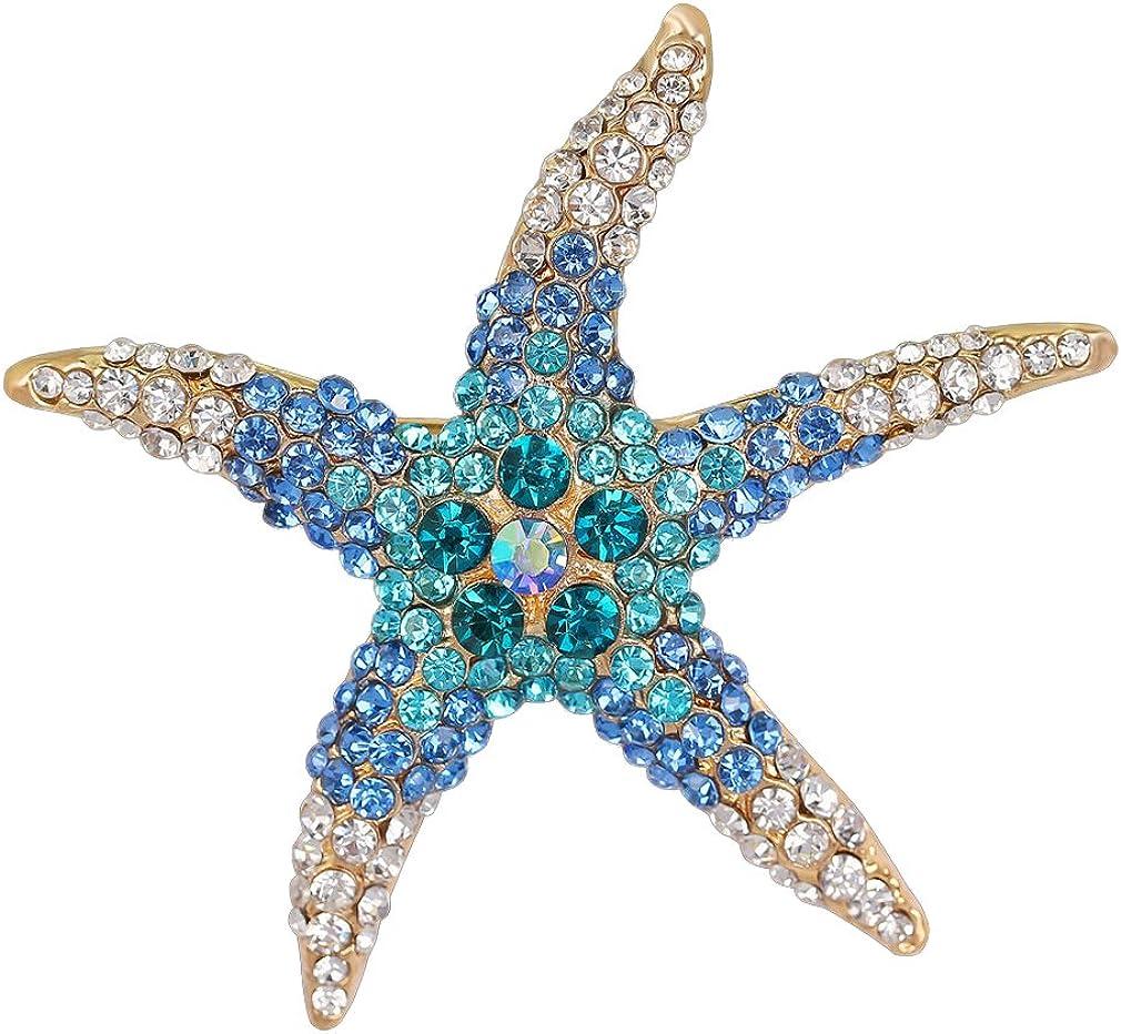 YAZILIND Delicada Estrella de mar Llena de Diamantes de imitación de aleación Broche Pins Mujeres niñas Accesorios