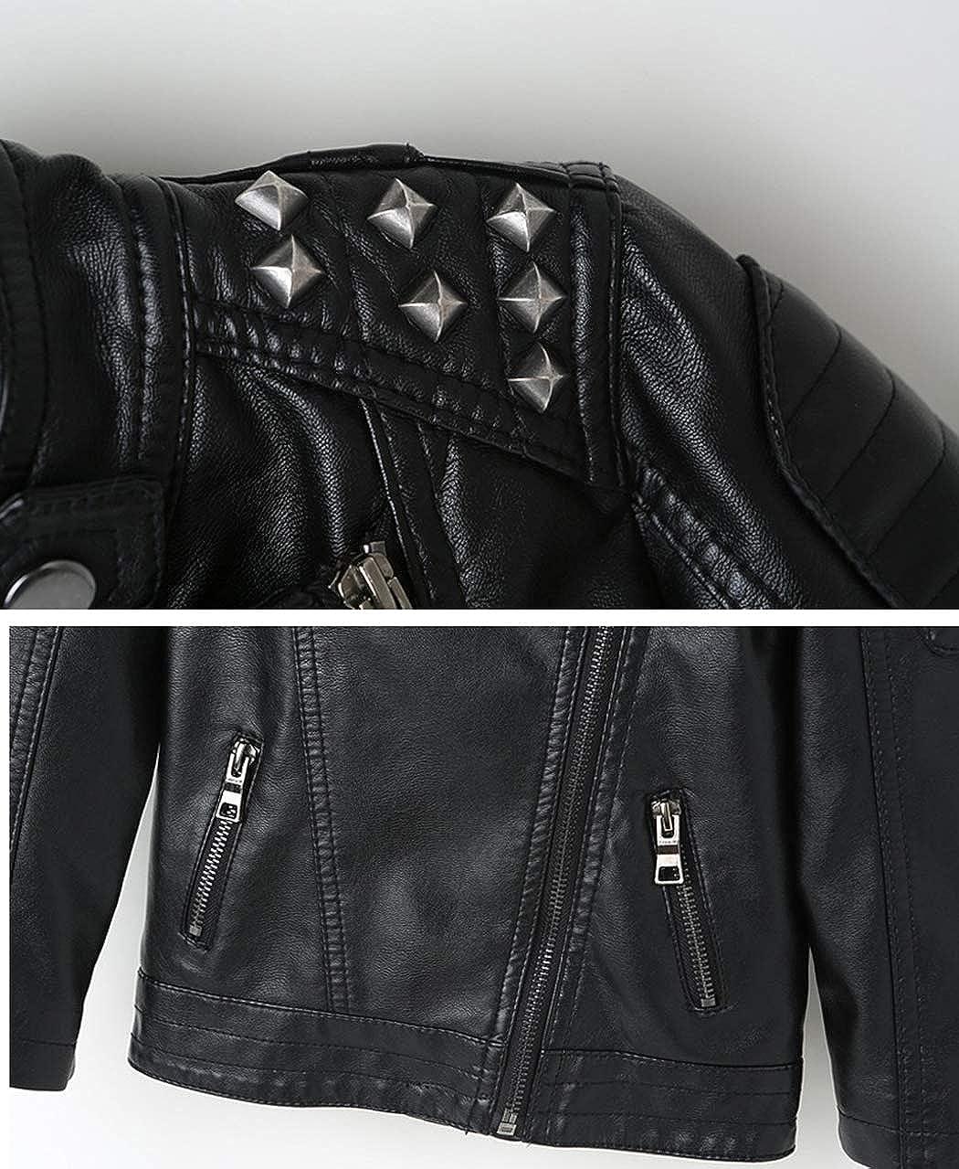 TLAENSON Boys Black Faux Leather Jacket Studded Motorcycle Moto PU Jacket Coat
