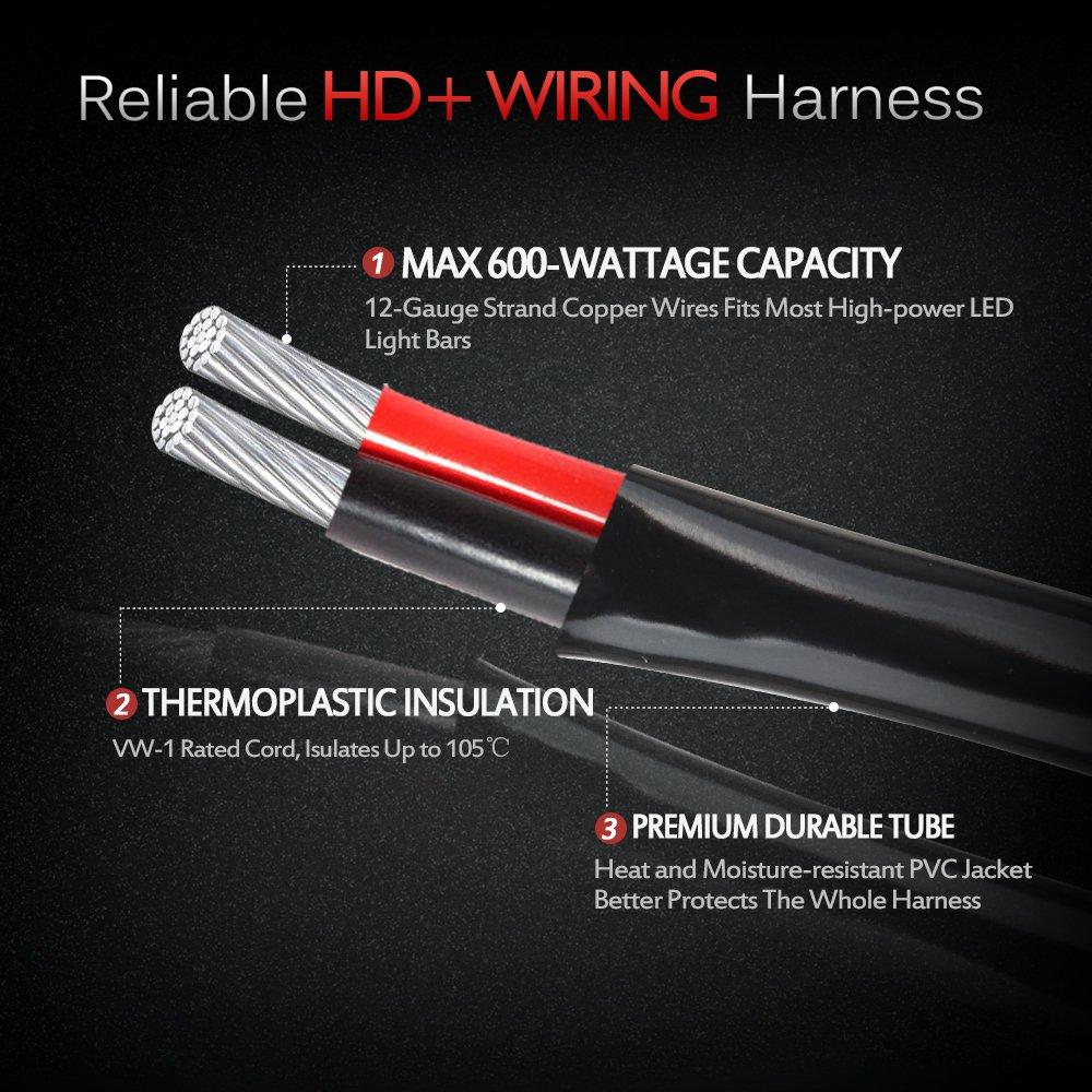 amazon com mictuning hd 12 gauge 600w led light bar wiring amazon com mictuning hd 12 gauge 600w led light bar wiring harness kit w 40amp relay 3 fuse rocker switch blue 2 lead 12ft automotive
