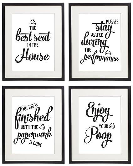 Amazoncom IDIOPIX Bathroom Wall Art Quotes And Sayings Prints Set - Bathroom quotes and sayings
