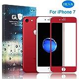 【2枚セット】OFTEN iPhone 7 ガラスフィルム 4.7インチ 3D 全面保護 液晶保護フィルム 強化ガラスフィルム 気泡ゼロ 硬度9H 耐衝撃 指紋防止 超薄型 0.33mm 全面カバータイプ 高級感が溢れる for iPhone7 (PRODUCT)RED 赤