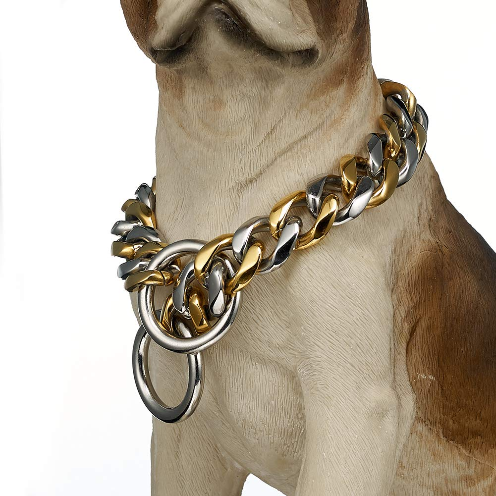 FANS JEWELRY 19mm Stainless Steel Chain Dog Choke Collar Heavy Duty for Medium Large Breeds Training Slip Collar(28inches) by FANS JEWELRY