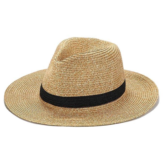 e29304042a4a Panama Sun Hat Wide Brim Fedora Beach Sun Hat Trilby for Men Women UPF 50+