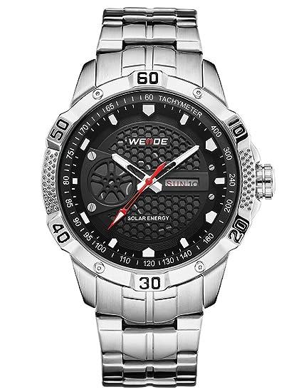 Alienwork Reloj Solar Unisex Relojes Hombre Mujer Acero Inoxidable Plata Analógicos Cuarzo Calendario Fecha Negro Impermeable: Amazon.es: Relojes