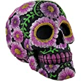 Floral Day of the Dead Black and Pink Sugar Skull Coin Bank