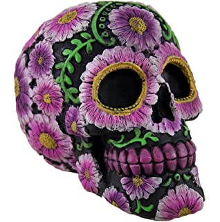 Zeckos Resin Toy Banks Floral Day Of The Dead Black And Pink Sugar Skull Coin Bank