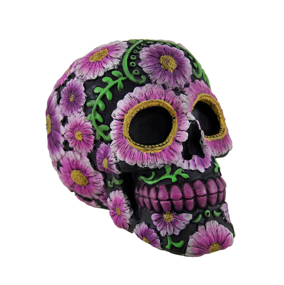 Zeckos Resin Toy Banks Floral Day of The Dead Black and Pink Sugar Skull Coin Bank 5.25 X 4.25 X 3.75 Inches Black