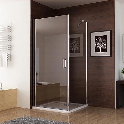 100 x 80 (pared lateral) x 195 cm mampara de ducha ducha 180° la entrada en curva puerta abatible con plato de ducha: Amazon.es: Bricolaje y herramientas