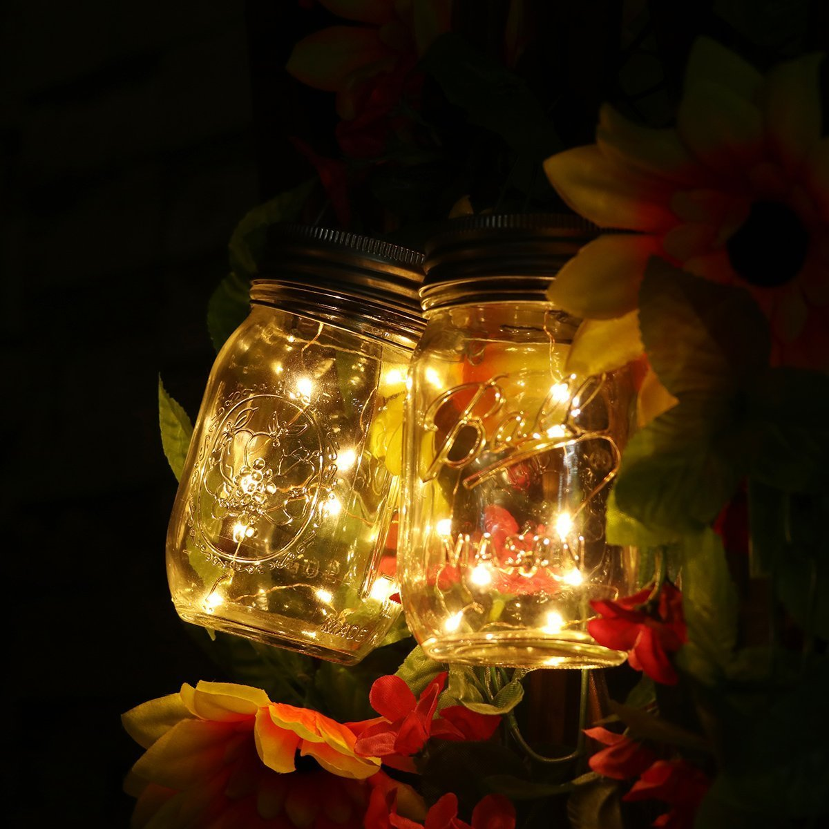 Solar Mason Jar Lights, Adecorty Outdoor Hanging Lights 2 Pack 20 LED String Fairy Star Firefly Jar Lights (Jars & Hangers Included) Warm White Waterproof Solar Lanterns for Garden Patio Outdoor Decor by Adecorty (Image #2)
