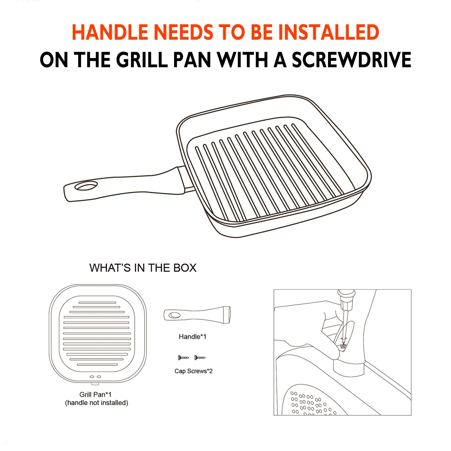 COOKER KING Square Grill Pan for Induction Cooktop, 10 Inches Ribben Pan for Stove Top, Nonstick Indoor Grill Pan with Deep Ridge for Grilling Marks on Steak, Meats and Bacon by COOKER KING (Image #5)