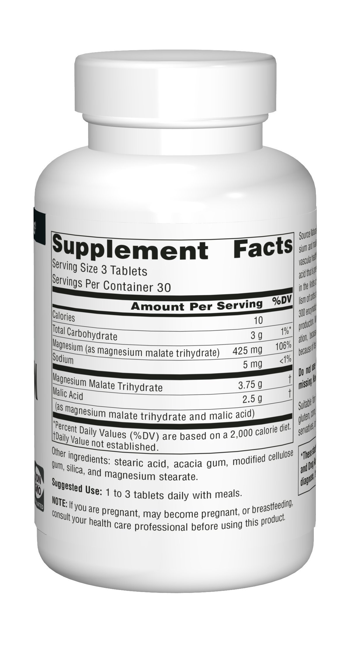 Source Naturals Magnesium Malate 1250mg Supplement Supports Muscle Function, Health and Energy Production - Essential Magnesium Malic Acid Supplement - 90 Tablets by Source Naturals (Image #2)