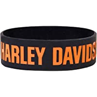 Happiness Overloaded™ Black Silicone Wristband with Harley Davidson Design Pack Of 2
