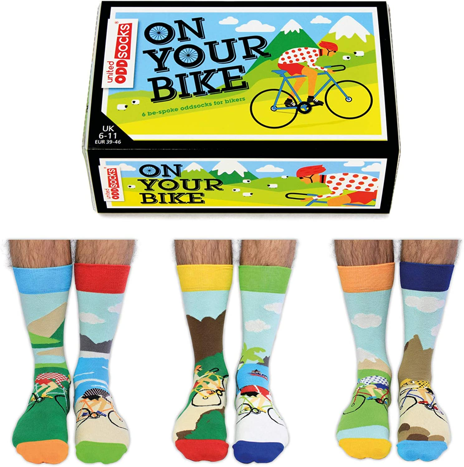 6 calcetines para hombre On Your Bike United Oddsocks