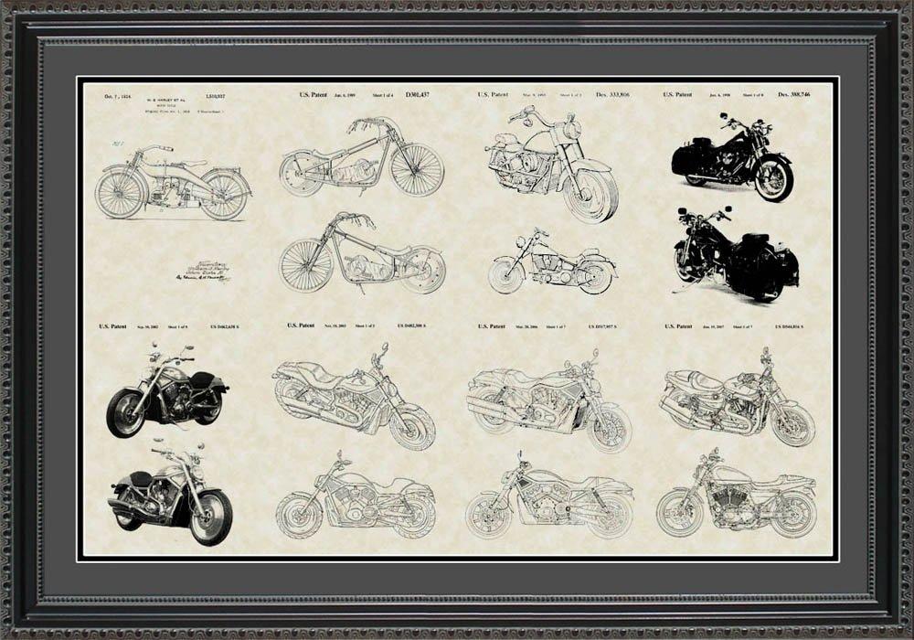 Harley - Davidson Motorcycles特許コレクションアート|バイカーLarge壁アートギフト 20x30 Framed PCYCL2030 20x30 Framed  B009XRCCBG