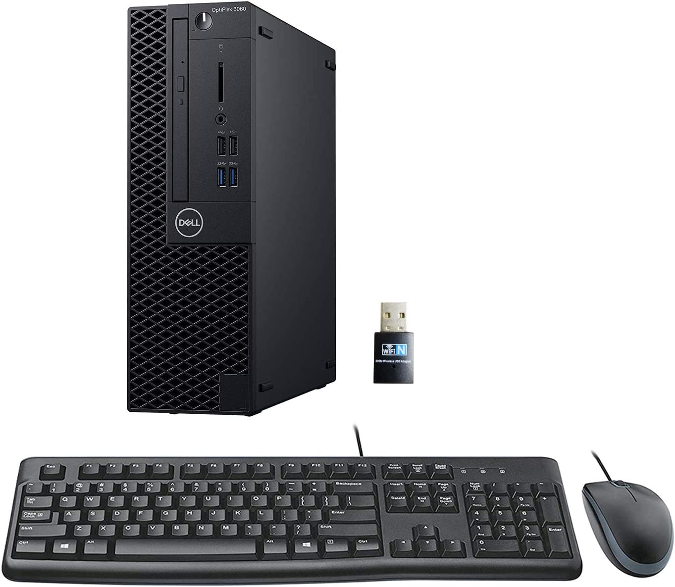 Dell Optiplex 3060 SFF Desktop PC Bundle with Keyboard, Mouse, Intel Core i5-8500 3.0GHz 6 Core (Hexa Core), 8GB DDR4 RAM, 1TB HDD, WiFi, Windows 10 Pro
