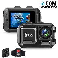 DR.Q Action Camera 4K 16MP WiFi Ultra HD Fotocamera Sportiva 50M Impermeabile Subacquea Camera Senza Custodia (2018 Aggiornato) Videocamera con Lente Grandangolare con Sensore Sony, Telecomando, Batteria Potenziata e Kit di Accessori di Montaggio