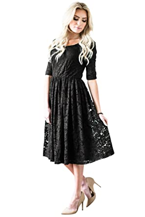 98fdf61fd5da8 Mikarose Addison Modest Dress in Black Lace at Amazon Women's ...
