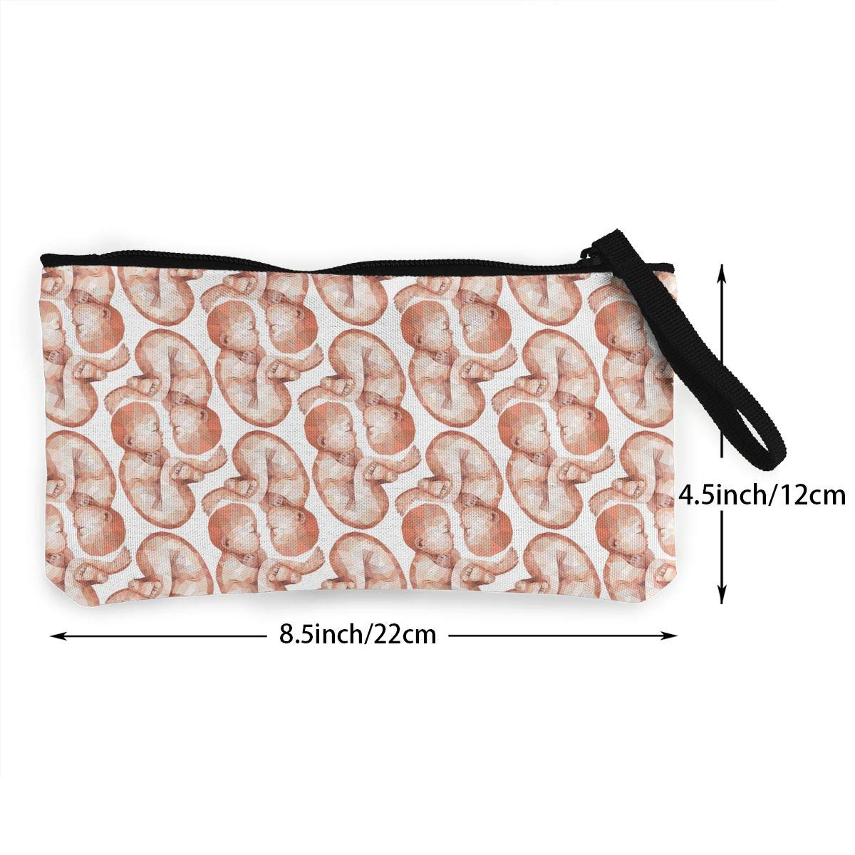 Low Poly Twins Pattern Canvas Change Coin Purse Assorted Wallet Bag with Zip