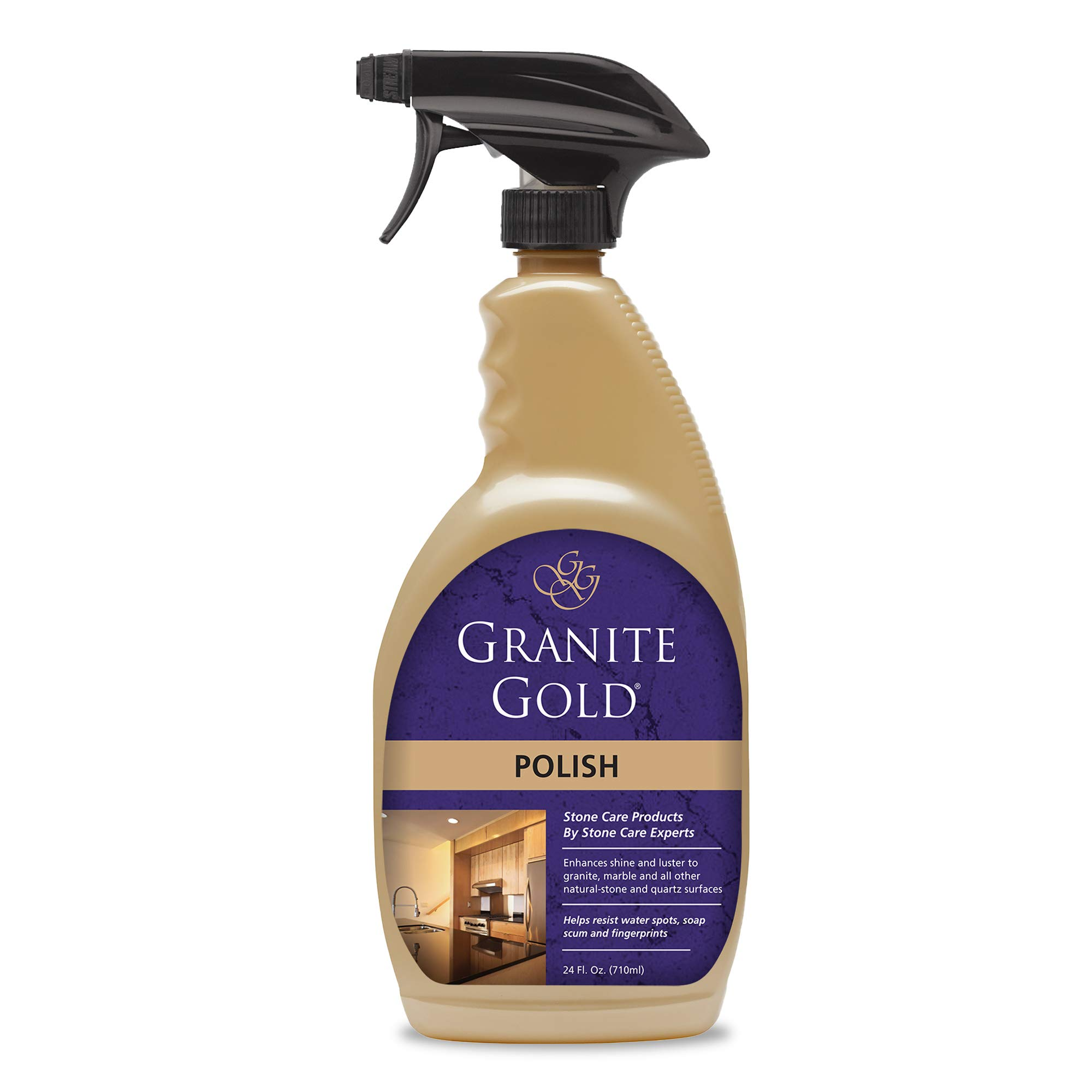 Granite Gold Polish Spray Streak-Free Shine for Granite, Quartz, Marble, Travertine, and Natural Stone Countertops and Floors, Made in the USA, 24 Ounces, Gold