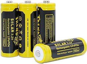 Trendbox 14430 3.2V 450mAh Battery LiFePo4 Rechargeable Solar Batteries for Outdoor Garden Light 4 Pack