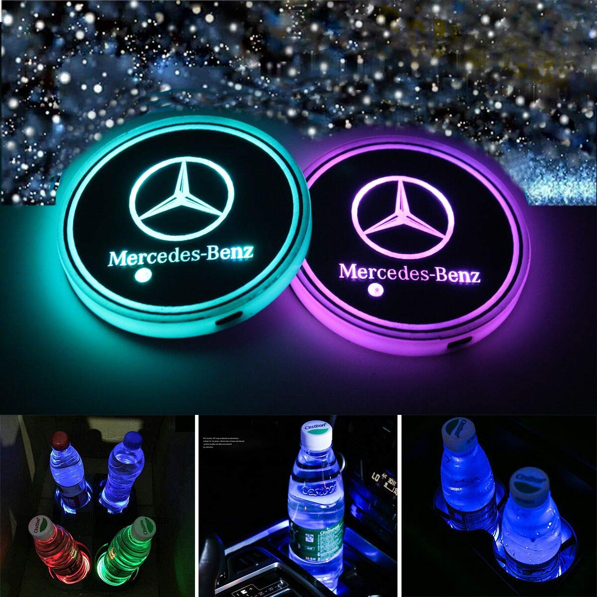 LED Interior Atmosphere Lamp Decoration Light Kingshun 2 PCS LED Car Cup Holder Lights for Mercedes-B-e-n-z 7 Colors Changing USB Charging Mat Luminescent Cup Pad