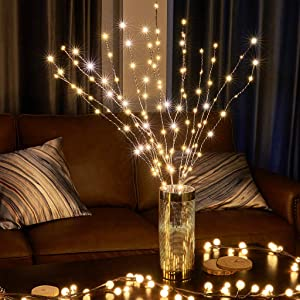 EAMBRITE 120LT Lighted Brown Twig Branches with 33IN LED Willow Tree Plug in for Holiday Party Wedding Spring Indoor and Outdoor Decoration (Vase Excluded)