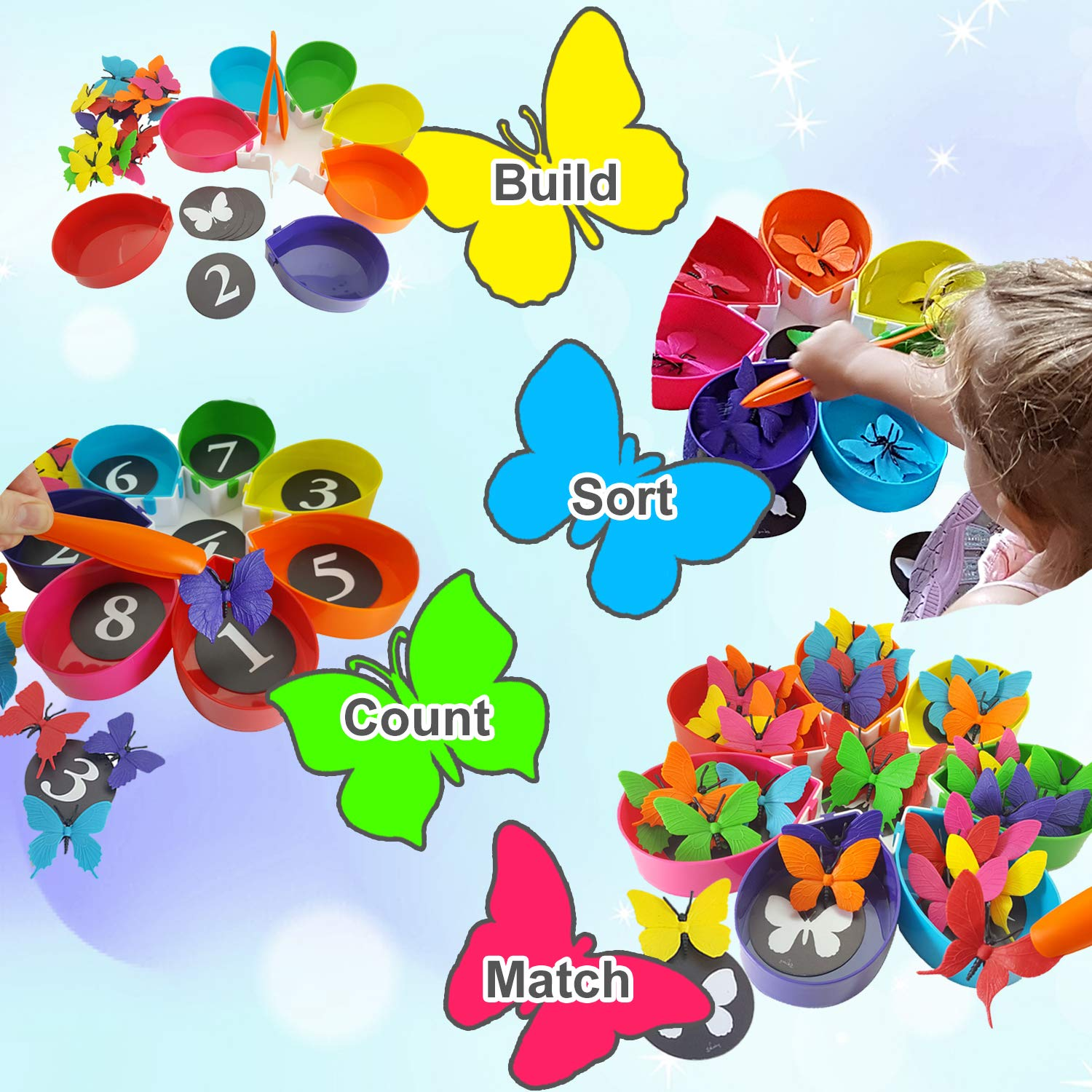 Skoolzy Butterfly Color Sorting Toys for Toddlers