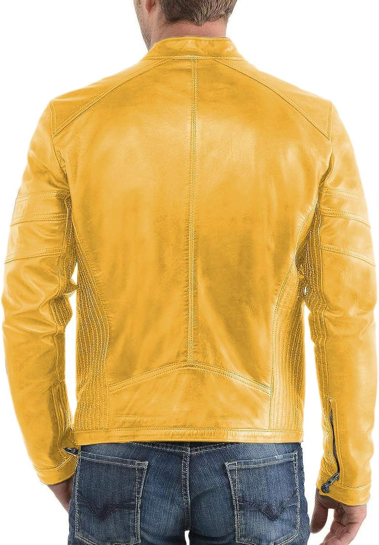 Lasumisura Mens Black Genuine Lambskin Leather Jacket 1510320