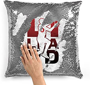 Hat Shark Basketball Sports Athletic Player Flip Reversible Sequin Pillow Cover Empty DIY Silver Throw Case Decorative Home Decor, Christmas, Birthday, Holiday (Lillard #0)