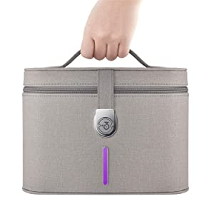 UV sanitizer bag, UV Smartphone Sanitizer, UV Light Sanitizer Bag Portable, Fast Germ Sterilizer & Disinfectant for Cell Phone, Keys, toothbrush, Masks, Kills 99.9% of Bacteria & Viruses in 3 Minutes