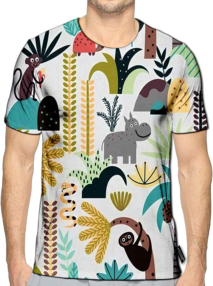 3D Printed T-Shirts Jungle Animals and Plants in Cartoon Style Children Short Sleeve Tops Tees