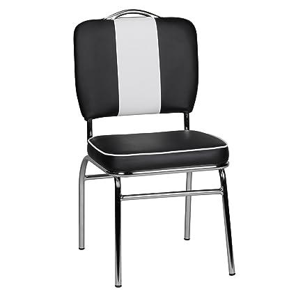 FineBuy Chaise de Salle à Manger Noir/Blanc Chaise de ...