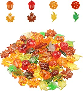 90 Pieces Acrylic Gems Leaves Mini Acrylic Pumpkin Maple Leaves Acorns Crystals Gems for Thanksgiving Home Decor Autumn Table Scatters Decoration Preschool Counting Favor Vase Filler(6 Colors)