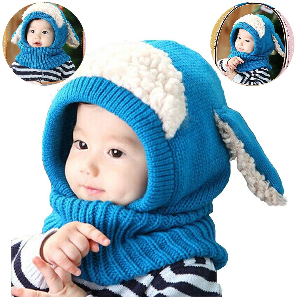 WSLCN Unisex Baby Knitted Warm Woolen Coif Hood Scarf Caps Beanie Hat Toddler Kids Hats with Puppy Ears Cute Earflap Scarves Cap for 6 Months-3 Years Blue
