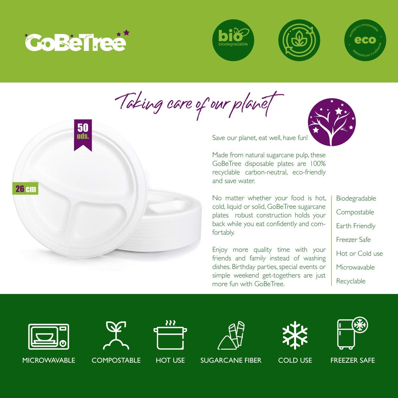 GoBeTree 50 Platos Desechables Biodegradable de Papel de caña de ...