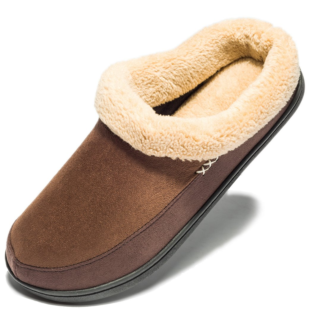 NDB Men's Warm Memory Foam Suede Plush Shearling Lined Slip On Indoor Outdoor Clog House Slippers (11-12 D(M) US, N-Coffee)