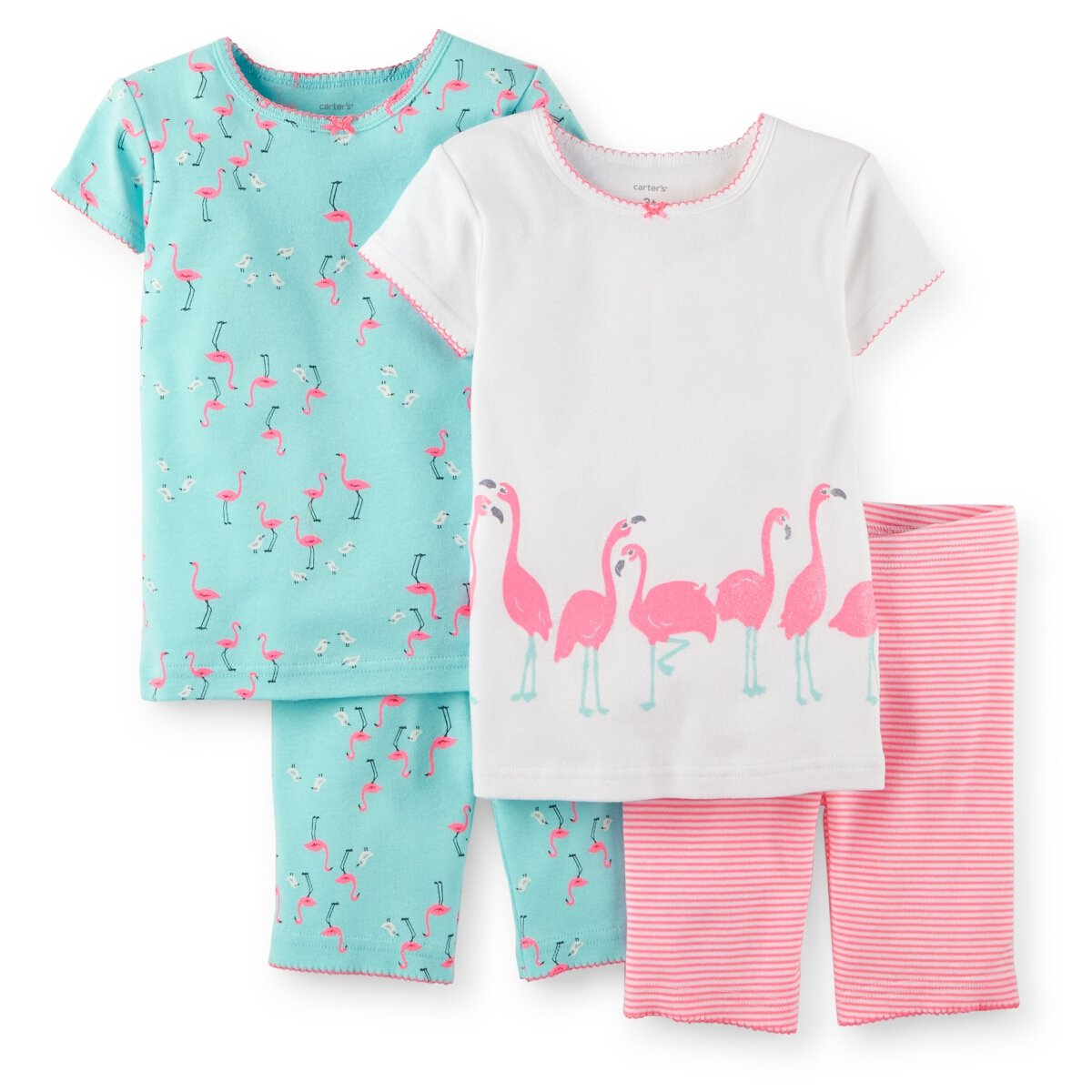 Amazon Com Carters Baby Girls 4 Piece Snug Fit Cotton Pjs Flamingo