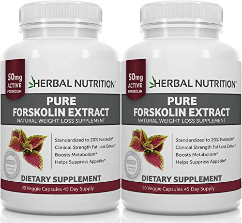 Forskolin Extract for Weight Loss, 250mg Two 90 Count Bottles, 20 Extract of Pure Coleus Forskohlii, Ideal Diet and Athletes Formula, Promotes Lean Body Mass, US MFD, Free Shipping