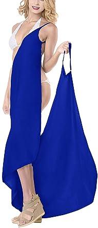 b040ba4b56 LA LEELA Women s Bikini Cover Up Spaghetti Strap Beach Dress Wrap Swimwear  Swimsuit Blue A302 70 quot
