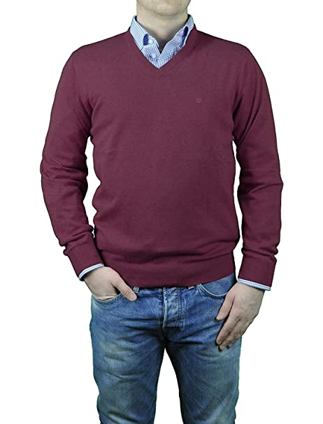 Redmond Pull col V en Coton Framboise Grande Taille Homme 4XL - 4XL - Rouge 5f33a72eea93